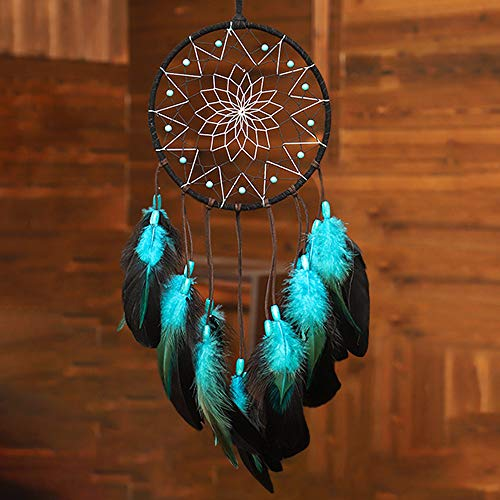 WOWDING Blue Dream Catchers Handmade, Boho Traditional Circular Net for Wall Hanging Decor, Bedroom Kids, Home Decoration, Art Ornament Craft Gift