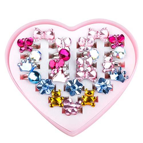 Anillo de Niña Ajustable Brillando Princesa Joyas Anillos Juguete con Caja en Forma de corazón para Niños Suministros de fiesta de cumpleaños 24 Piezas