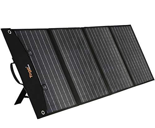 TogoPower 120W Portable Foldable Solar Panel Solar Cell Car Charger for Portable Generator Power Station with Dual USB Ports & 18V DC Output for RV Boat Laptop Tablet GPS iPhone iPad Camera Lamp