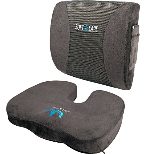 SOFTaCARE, Dark Gray Seat Cushion Coccyx Orthopedic Memory Foam and Lumbar Support Pillow