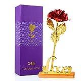 MOOKLIN ROAM Rosa, 24K Chapado en Oro Rosa Flores Artificiales con Caja de Regalo y Base, para San...