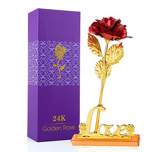 MOOKLIN ROAM Rosa, 24K Chapado en Oro Rosa Flores Artificiales con Caja de Regalo y Base, para San Valentín, Día de la Madre, Aniversario, Boda, Cumpleaños,decoración del hogar (Rojo)