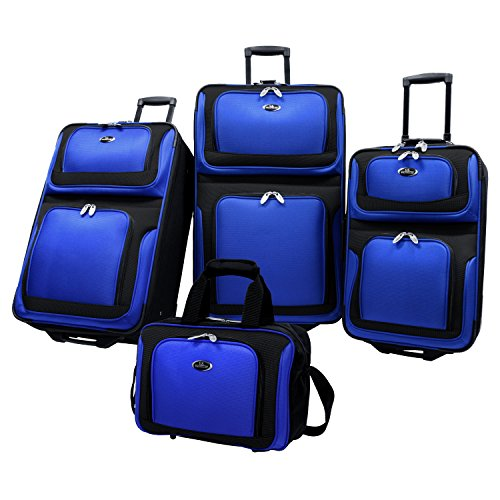 U.S. Traveler New Yorker Lightweight Expandable Rolling Luggage, Royal Blue, 4-Piece Set