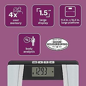 WW Scales by Conair Body Analysis Glass Bathroom Scale - Measures Body Fat, Body Water, BMI, Bone Mass, 4 User Memory, 400 lb. capacity, Black / Chrome