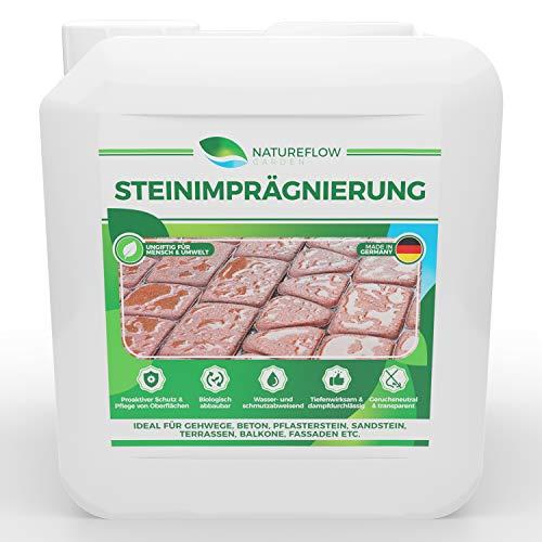 Steinimprägnierung außen - Tiefenwirksame Steinversiegelung als Schutz vor Grünbelägen - Ungiftig, Geruchsneutral - Premium Pflege für Beton, Pflasterstein und Mehr - Ergiebige 5L für 70-100m²…