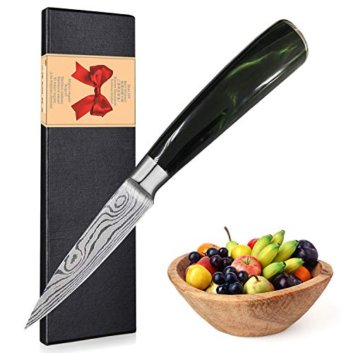 Paring Knife, Ultra Sharp Kitchen Knife 3.5 inch, Quality German High Carbon Stainless Steel Blade Cooking Knife, with Ergonomic Handle, Fruit Knife Suitable for Senior Chef and Beginner