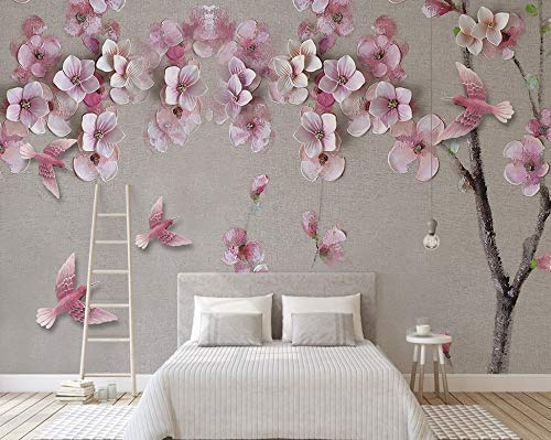 Murwall Oil Painting Pink Flowers and Pink Birds Texture Wallpaper Cherry Blossoms Wall Murals for Living Room Bedroom Office Wall Art