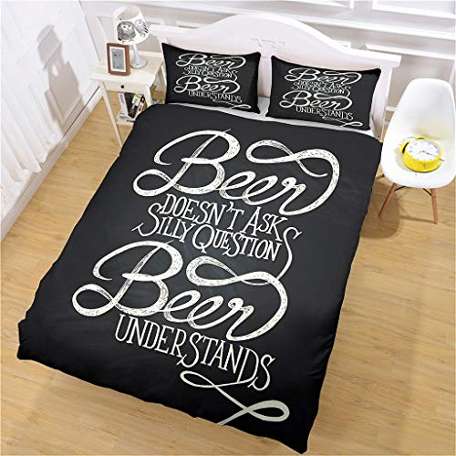 HHANN Duvet Cover Sets King Size - 3 Pieces Black Text Inspirational Language Microfiber Polyester Bedding Set, 1 Ultra Soft Quilt Duvet Cover 230X220cm With 2 Pillowcases, For Baby Kids Adults Teenag