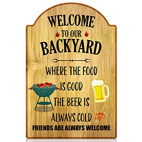 SICOHOME Welcome to Our Backyard Sign,8' x 12' Funny Patio Decoration Sign,Outdoor Pool Backyard Bar Sign,Backyard Sign for Garden Decoration,Farmhouse Sign for Home Decor,Wall Art Sign for Cafe,Bar