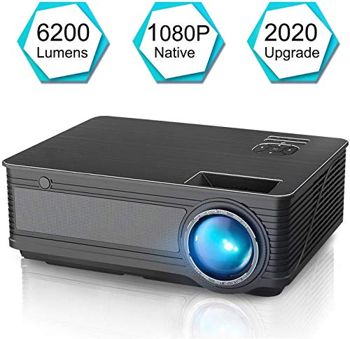 Native 1080P-projector, HD-videoprojector, 6200 Lux LED-filmprojector met 200-inch scherm, compatibel met tv-stick, HDMI, VGA, USB, iPad, pc, Xbox, iPhone voor Home Entertainment