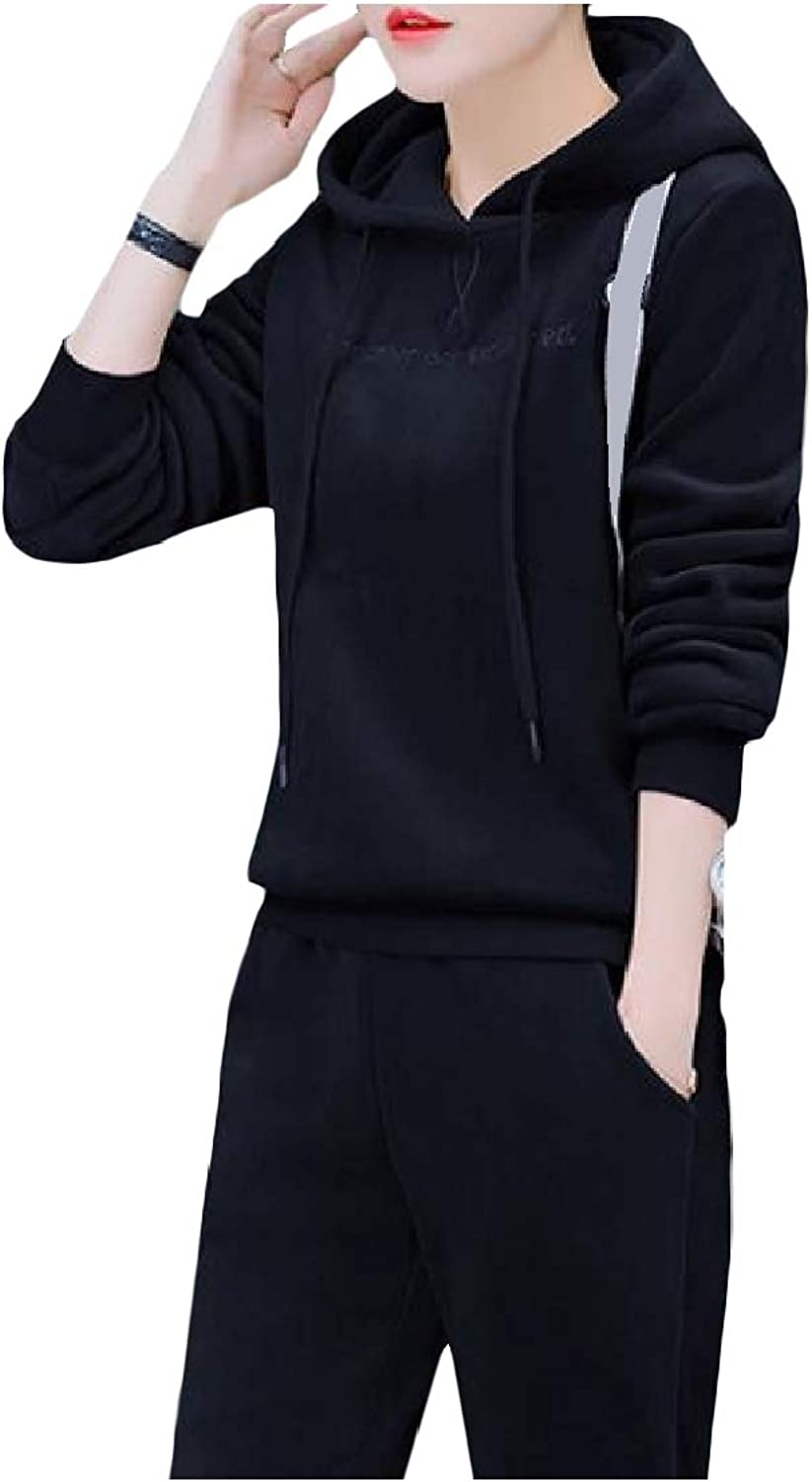 color&W Women's Plus Velvet Casual Hooded Winter Thick Tops and Sweatpants Outfit