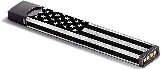 Skin Decal Vinyl Wrap for JUUL Vape Stickers Skins Cover/Black White Grunge Flag USA America