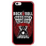 Funda Roja para [ Apple iPhone 6 6S ] diseño [ Rock Star - Rock and Roll Vintage Cartel 1 ] Carcasa Silicona Flexible TPU