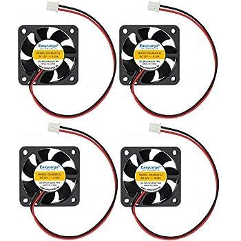 Easycargo 4pcs 3D Printer 40mm Fan 12V DC 4010 Cooling Fan Sleeve Bearing Brushless 2 pin 40mm Cooler Fan + Grill Mounting Kit 40mm x 40mm x10mm