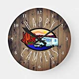 Happy Campers Retirement RV Camping Rustic Wood Round Clock Battery Operated Non Ticking Silent Art Wall Clock Desk Clock Decorative
