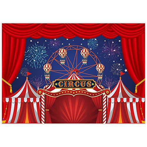 Allenjoy 7x5ft Red Circus Tent Carnival Night Photography Backdrops Colorful Fireworks Sky Ferris Wheel Kids Birthday Party Photo Background for Children Cake Table Decor Banner Photobooth Props