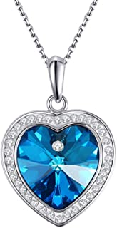 Blue Crystal Heart Pendant Necklace Heart of The Ocean Titanic Love Necklace for Women, 18
