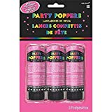 Amscan Party Supplies, Confetti Party Poppers, Party Supplies, Pink, 4' 3ct
