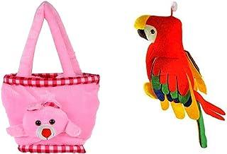 srt musical parrot (20cm) & girls handbag (30cm)-Pink