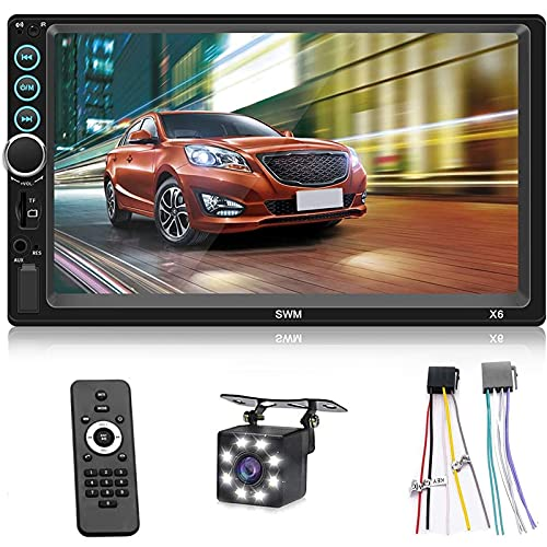 Double Din 7 Inch Car Stereo Bluetooth Touch Screen MP5 Player FM Radio in-Dash Car Audio Receiver, Hands Free Multimedia with Backup Camera, Supports Mirror Link/AUX/TF/USB