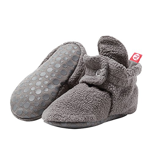 Zutano Cozie Fleece Baby Booties with Grippers, Gray, 18M