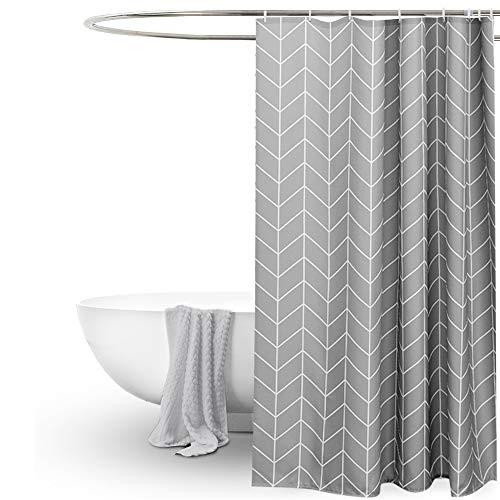 EurCross Langer Duschvorhang, 182,9 x 198,1 cm, grau, geometrisch, schlicht, stilvoll, beschwert, dicker Stoff, dekorativ, Duschvorhänge für Badezimmer, Badewannen, Hotel-Qualität, 2 m lang