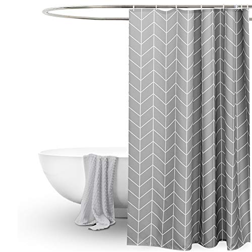 EurCross Grey Shower Curtain for Bathroom,Geometric Pattern,Water Repellant Anti Mould Extra Wide...