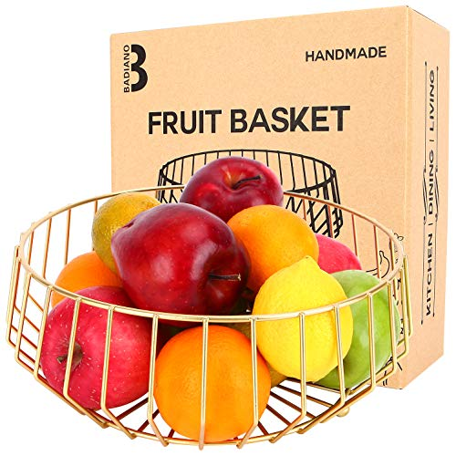 Geometric Metal Fruit Basket, Decorative Fruits and Veggie Bowl for Bread and Snacks, Wire Countertop Storage Rack for Household Items, Kitchen, Table, Centerpiece (Gold)