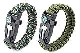 Paracord Survival Armband, Deesospro® 2 Stück Survival Kit mit Flint Fire Starter, Schaber,...