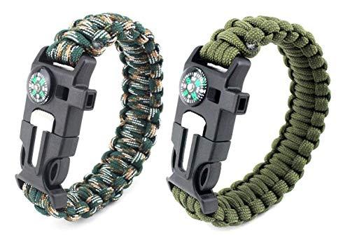 Paracord Survival Armband, Deesospro® 2 Stück Survival Kit mit Flint Fire Starter, Schaber, Kompass, Pfeife und Fallschirmseil Schnalle für Wandern Camping, Bootsfahren