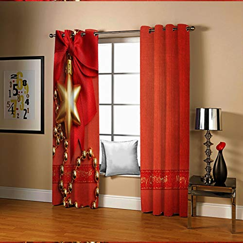 Amody Window Curtains Privacy Bowknot Stars Merry Christmas Room Curtains Red Window Treatment Drapes for Bedroom Living Room 214x274CM