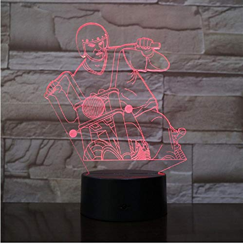 Motorrijden, mannen acryllamp LED 3D 7 kleuren wisselende USB decoratie nachtlampje voor baby