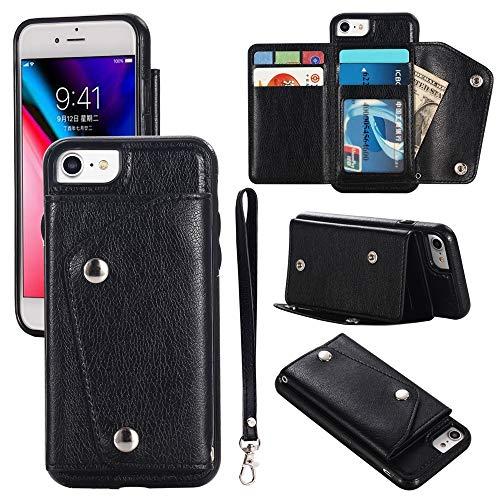 Caso feliz-l Para iPhone SE 2020, caja de billetera de cuero de cierre magnético, [ranura para tarjeta] Muñeca de la mano de la cubierta de la cubierta del teléfono de la cubierta del teléfono para iP