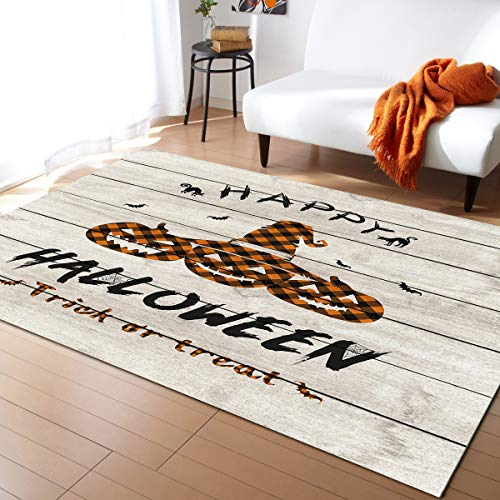 Xspring Indoor Area Rugs Ultra Soft Carpet for Game Safe Area Dining Room Home Bedroom Halloween Plaid Pumpkin Trick or Treat Outdoor Carpet 4'x6' Non Slip Floor Mat
