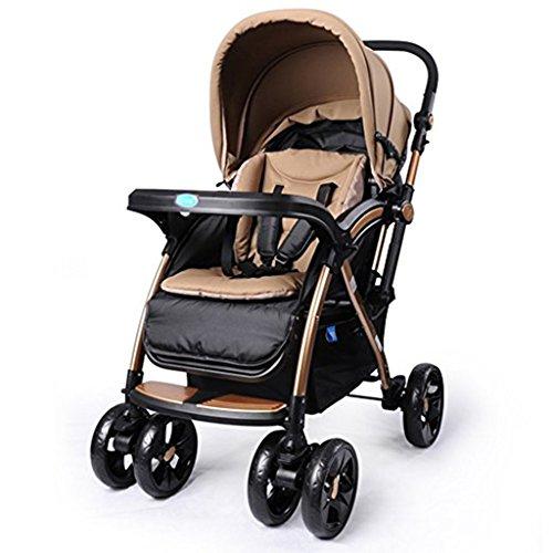 JIAO Carrito de bebé Stroller - High Landscape Baby Puede Estar Sentado o Lie Baby Plegado Multifunción de Dos vías Trolley (Uso Dual de Invierno y Verano, Colores Opcionales) Sombrillas