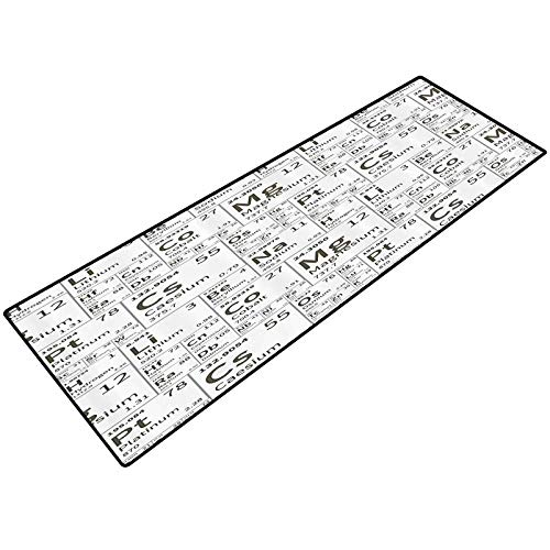 Periodic Table Indoor Doormat School Life Smart Kids Inspired Chemisty with Elements in Squares Print Kitchen Rug Heavy Duty Comfort Standing Mat