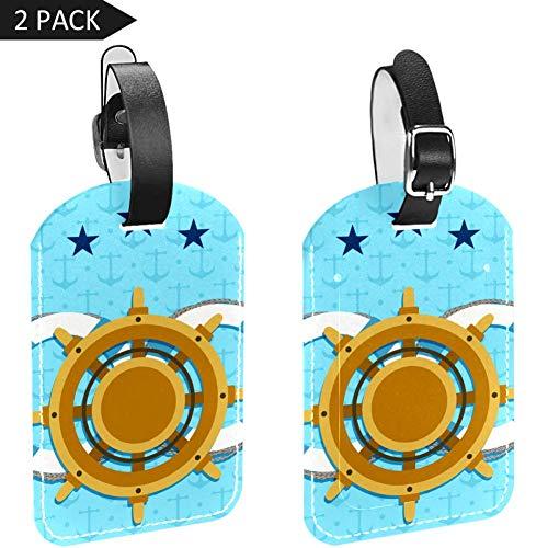 Gepäckanhänger aus PU-Leder mit Sichtschutz auf der Rückseite, Kreatives Ruder und Rettungsanker-Hintergrund