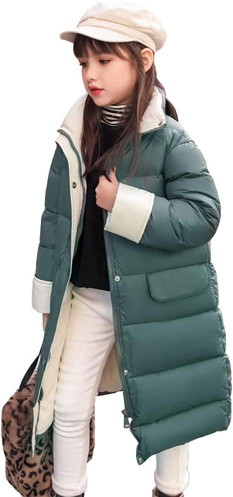 WX-ICZY Windproof Girls Down Jacket, Casual Quilted Down Puffer Jacket 110-160cm,Green,160cm