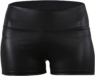 Women Sexy Faux Leather High Waist Shorts Sateen Skinny Pants Black