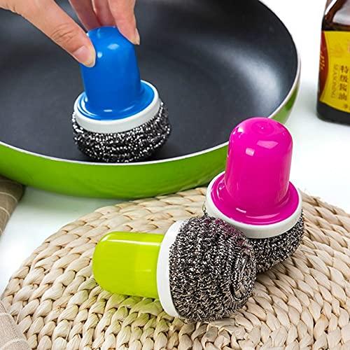 PPuujia Bola de alambre de cocina de acero inoxidable con mango cepillo limpio limpiador de cocina herramienta de lavado olla recipiente fregar (color: color al azar)