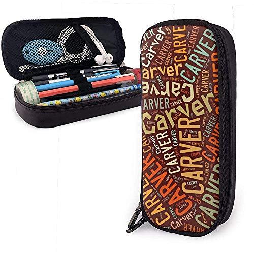 Carver - American Style Astuccio per matite in pelle di grande capacità Penna Cartoleria Organizer Porta pennarelli Borsa da viaggio