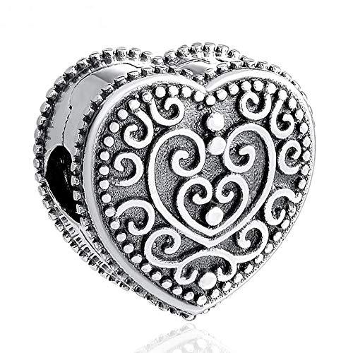 Pandora 925 plata esterlina DIY corazón encantado Clips tapones Fit pulsera pulseras joyería de cuentas