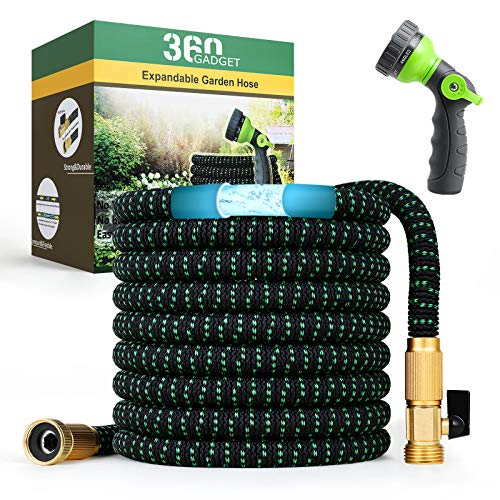 """360Gadget Expandable and Flexible Garden Hose 50 ft Water Hose with 3/4"""" Brass Fittings and 8 Function Sprayer Nozzle, Retractable, Kink Free, Collapsible, Lightweight Hose for Outdoors"""