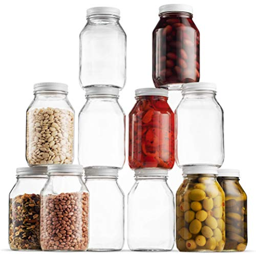 Glass Mason Jars (12 Pack) - Regular Mouth Jam Jelly Jars, Metal Airtight Lid, USDA Approved Dishwasher Safe USA Made Pickling, Preserving, Decorating, Canning Jar, Craft and Dry Food Storage (32 Ounc