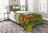 ABAKUHAUS Dinosaurier Tagesdecke Set, Dino Park lebendig Theme, Set mit Kissenbezug Mit Digitaldruck, für Einselbetten 170 x 220 cm, Multicolor