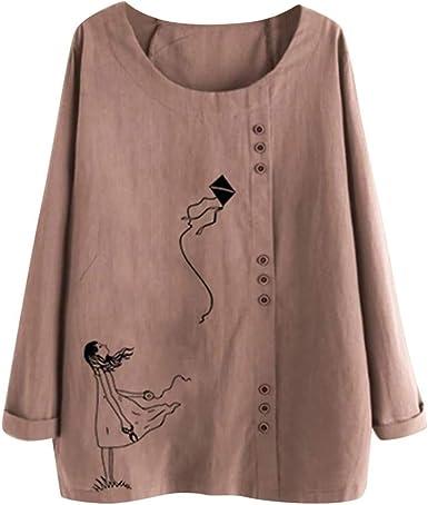 Vectry Camisa Mujer Tallas Grandes Mujer Manga Larga Algodón Lino O-Cuello Botton Blusa Top Camiseta Camisa Otoño Verano Playa Y Fiesta