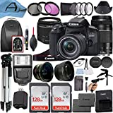 Canon EOS 850D / Rebel T8i Digital SLR Camera w/EF-S 18-55mm f/4-5.6 is STM + EF 75-300mm f/4-5.6 III Dual Lens + 2 Pack SanDisk 128GB Memory Card + Backpack + A-Cell Accessory Bundle