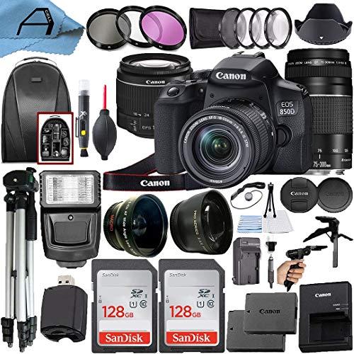 Canon EOS 850D / Rebel T8i Digital SLR Camera w/EF-S 18-55mm f/4-5.6 is STM & EF 75-300mm f/4-5.6 III Dual Lens, 2 Pack SanDisk 128GB Memory Card, Backpack, A-Cell Accessory Bundle