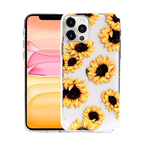 Sephonie Flower Case for iPhone 12 Pro Max 67 Inch Floral Pattern Clear Slim Fit Girly Design Shockproof Protective Hard PC Back with Soft TPU Bumper Phone Cover for Girls and Women | Sunflower