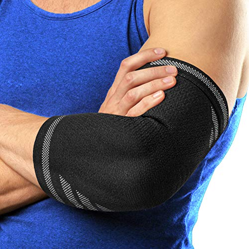 Langov Elbow Brace For Men And Women (Pair) – Elbow Compression Sleeve For Tendonitis, Weightlifting, Golfers & Tennis Elbow Brace - Arm Wrap Support For Reducing Pain In Arms